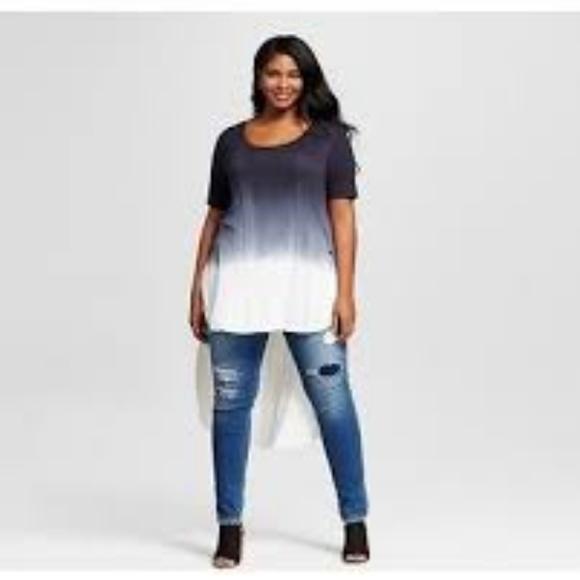 63c194ed732 Ava   Viv Plus Size Ebony Dip Dye Jersey Top NWT